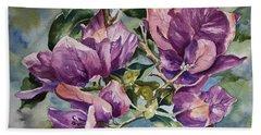 Purple Beauties - Bougainvillea Hand Towel by Roxanne Tobaison