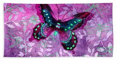 Purple Butterfly Bath Towel