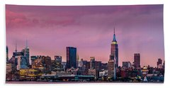 Bath Towel featuring the photograph Purple City by Mihai Andritoiu