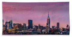Purple City Hand Towel by Mihai Andritoiu