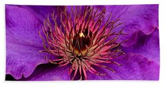 Bath Towel featuring the photograph Purple Clematis by Suzanne Stout