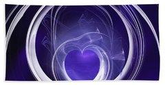 Hand Towel featuring the digital art Purple Heart by Menega Sabidussi