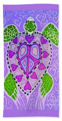 Purple Heart Turtle Hand Towel