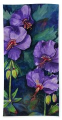 Purple Hibiscus Bath Towel