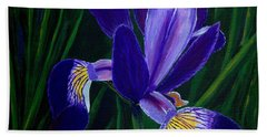 Hand Towel featuring the painting Purple Iris by Barbara Griffin
