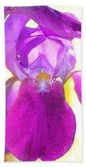 Purple Iris Watercolor Bath Towel