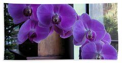 Purple Orchid Hand Towel by AJ  Schibig