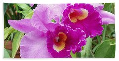 Purple Cattleya Orchids Bath Towel