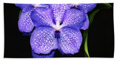 Purple Orchids - Flower Art By Sharon Cummings Hand Towel by Sharon Cummings