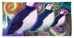 Bath Towel featuring the mixed media Purple Puffins by Teresa Ascone