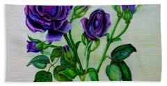 Purple Roses Bath Towel