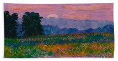 Bath Towel featuring the painting Purple Sunset On The Blue Ridge by Kendall Kessler
