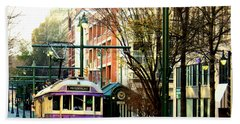 Hand Towel featuring the photograph Purple Trolley by Barbara Chichester