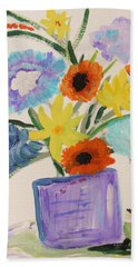 Bath Towel featuring the painting Purple Vase Filled by Mary Carol Williams