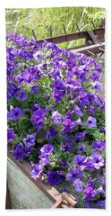 Purple Wave Petunias In Rusty Horse Drawn Spreader Hand Towel