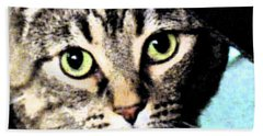 Hand Towel featuring the photograph Purrfectly Bright Eyed by Nina Silver
