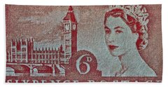 Queen Elizabeth II Big Ben Stamp Bath Towel