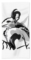 Bath Towel featuring the painting Rabbit Bunny Black White Grey by Go Van Kampen