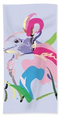 Rabbit - Bunny In Color Hand Towel by Go Van Kampen