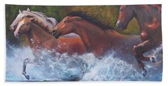 Bath Towel featuring the painting Race For Freedom by Karen Kennedy Chatham