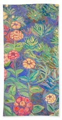 Bath Towel featuring the painting Radford Library Butterfly Garden by Kendall Kessler