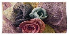 Raffia Roses Macro Bath Towel by Sandra Foster