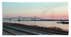 Hand Towel featuring the photograph Rail Along Mississippi River by Charlotte Schafer