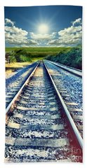 Railroad To Heaven Bath Towel by Carlos Avila