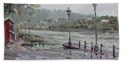 Rain In Lewiston Waterfront Hand Towel
