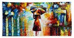 Rain Princess - Palette Knife Figure Oil Painting On Canvas By Leonid Afremov Hand Towel
