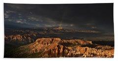 Rainbow And Thunderstorm Over The Paunsaugunt Plateau  Bath Towel