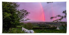 Rainbow At Sunset In County Clare Hand Towel