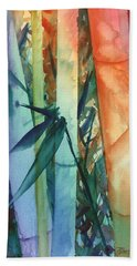 Hand Towel featuring the painting Rainbow Bamboo 2 by Marionette Taboniar