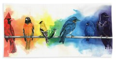 Rainbow Birds Hand Towel