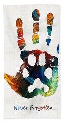 Rainbow Bridge Art - Never Forgotten - By Sharon Cummings Bath Towel