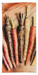 Rainbow Carrots. Vintage Cooking Illustration  Hand Towel
