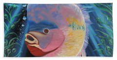 Hand Towel featuring the painting Rainbow Devil Fish by Dianna Lewis