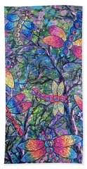 Bath Towel featuring the painting Rainbow Dragons by Megan Walsh