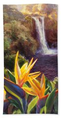 Rainbow Falls Big Island Hawaii Waterfall  Bath Towel