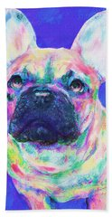 Rainbow French Bulldog Hand Towel by Jane Schnetlage