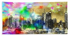 Rainbow Nyc Skyline Bath Towel by Daniel Janda