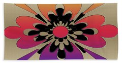 Rainbow On Gold Floral Design Hand Towel