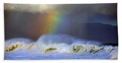 Rainbow On The Banzai Pipeline At The North Shore Of Oahu Bath Towel