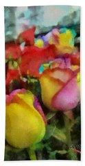 Rainbow Roses Watercolor Digital Painting Bath Towel by Eti Reid