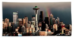 Rainbow Seattle Panorama Hand Towel by Benjamin Yeager