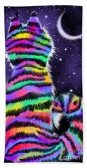 Rainbow Tiger Cat Bath Towel
