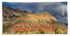 Rainbow Touching The Mountain Hand Towel