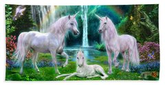 Rainbow Unicorn Family Hand Towel