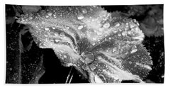 Raindrop Covered Leaf Bath Towel