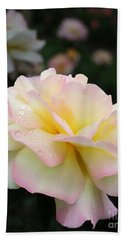 Hand Towel featuring the photograph Raindrops On Rose Petals by Barbara McMahon